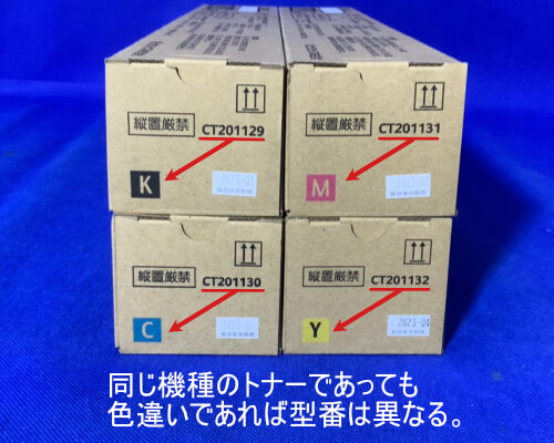 CT201129、CT201130、CT201131、CT201132は同じ機種のトナーであっても色違いであれば型番は異なる