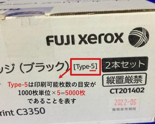Type-5は印刷可能枚数の目安が5000枚であることを表す