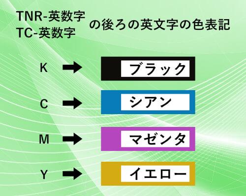 TNR-英数字、TC-英数字の後ろの英文字の色表記