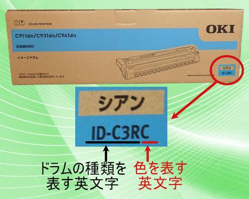 ID-C3RCのイメージドラムの型番表記