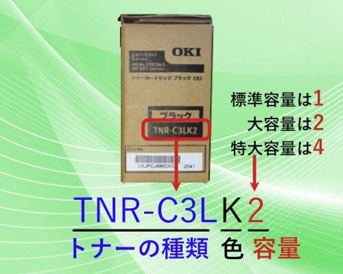 TNR-C3LK2のトナーの型番表記